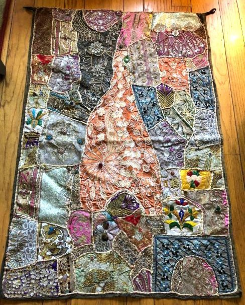 Vintage Hand-Crafted Indian Multi-Fabric, Beaded