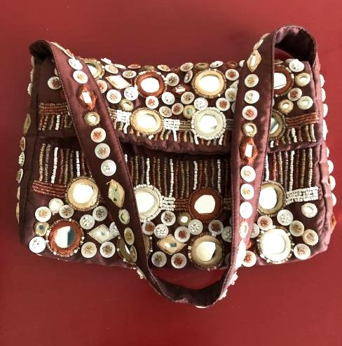 Vintage Bloomingdales Silk Embellished Purse w/ Beads