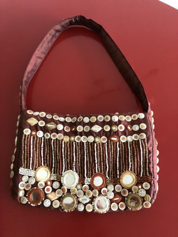 Vintage Bloomingdales Silk Embellished Purse w/ Beads - 2