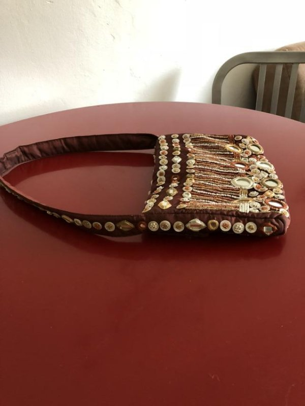 Vintage Bloomingdales Silk Embellished Purse w/ Beads - 3