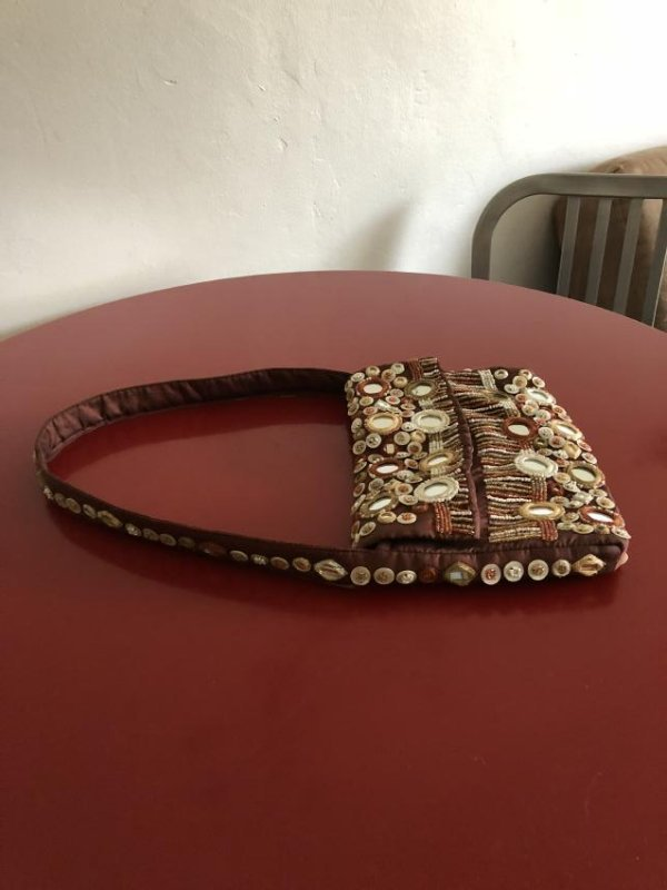 Vintage Bloomingdales Silk Embellished Purse w/ Beads - 8