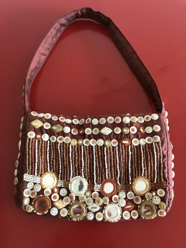 Vintage Bloomingdales Silk Embellished Purse w/ Beads - 9