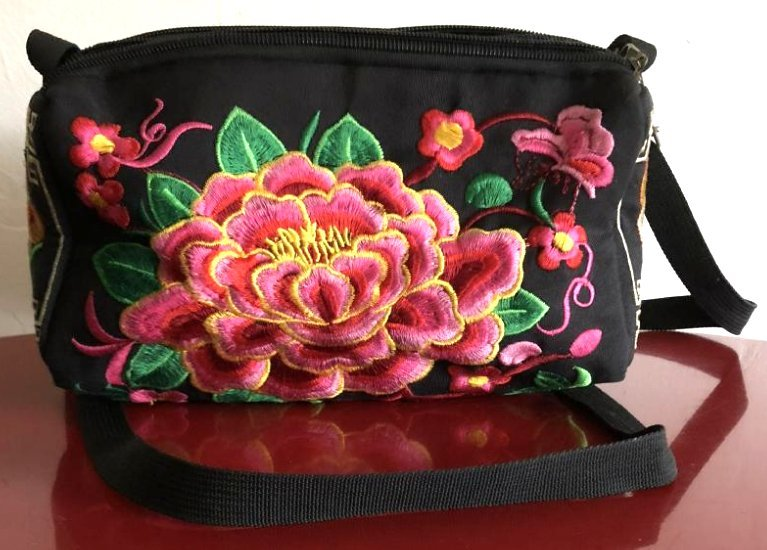 Vintage Asian Embroidered Purse w/ Pink Flowers, Rabbit