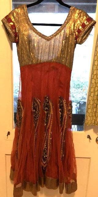 Vintage Orange Beaded Paisley Indian Dress, Sz:S