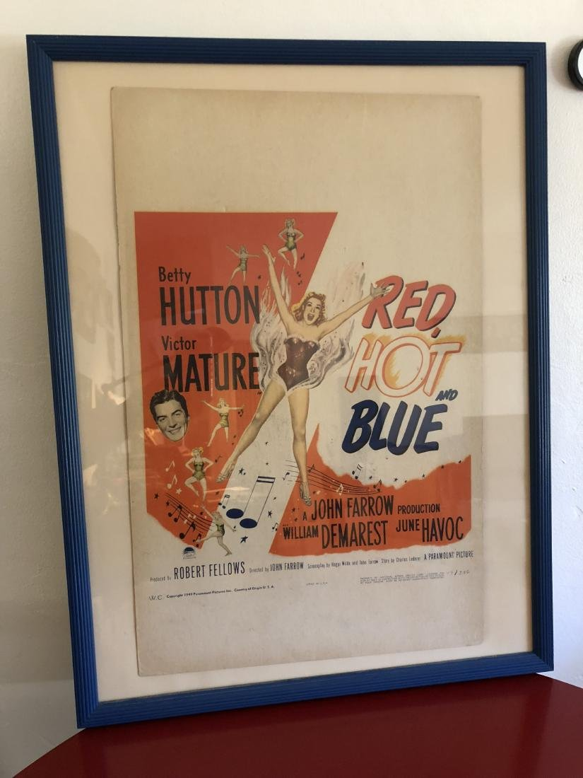 Original 1949 Red, Hot, and Blue Ad Poster, Numbered - 13