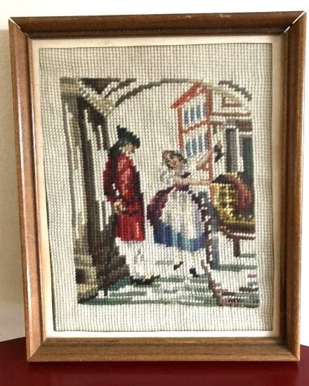Vintage Needlepoint of Calvary General and Woman
