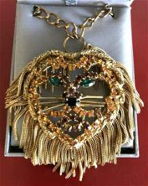 Rare Vintage Detailed Lion Head Necklace w/ Rhinestones