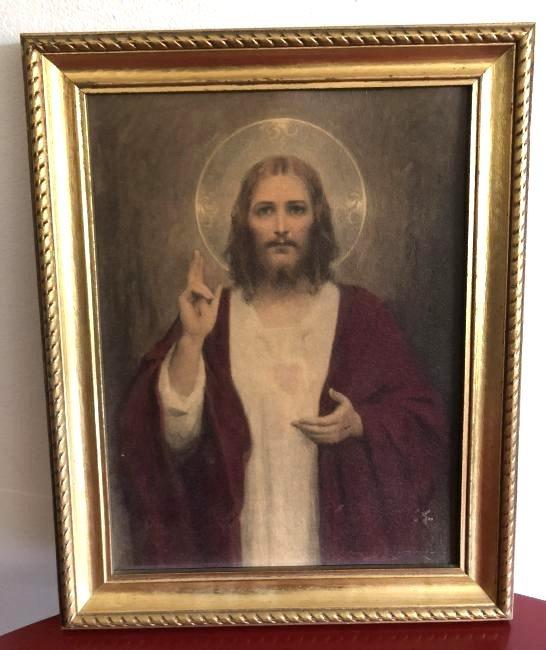 Oil on Panel Print, Jesus Sacred Heart, C. Bosseron