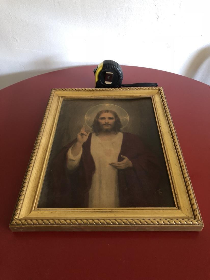 Oil on Panel Print, Jesus Sacred Heart, C. Bosseron - 7