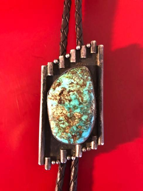 1950's Navajo Turquoise Bolo Necklace, Sterling Silver