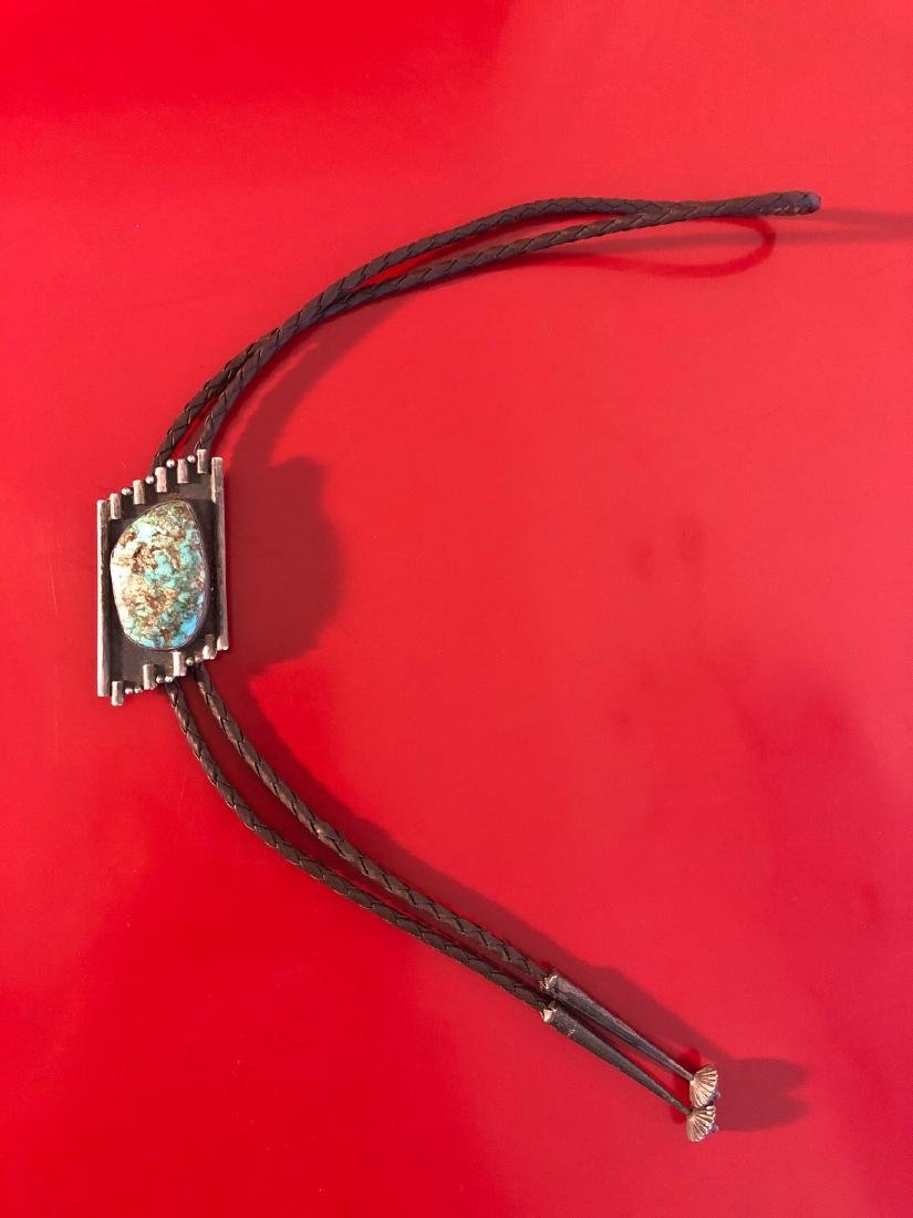 1950's Navajo Turquoise Bolo Necklace, Sterling Silver - 2