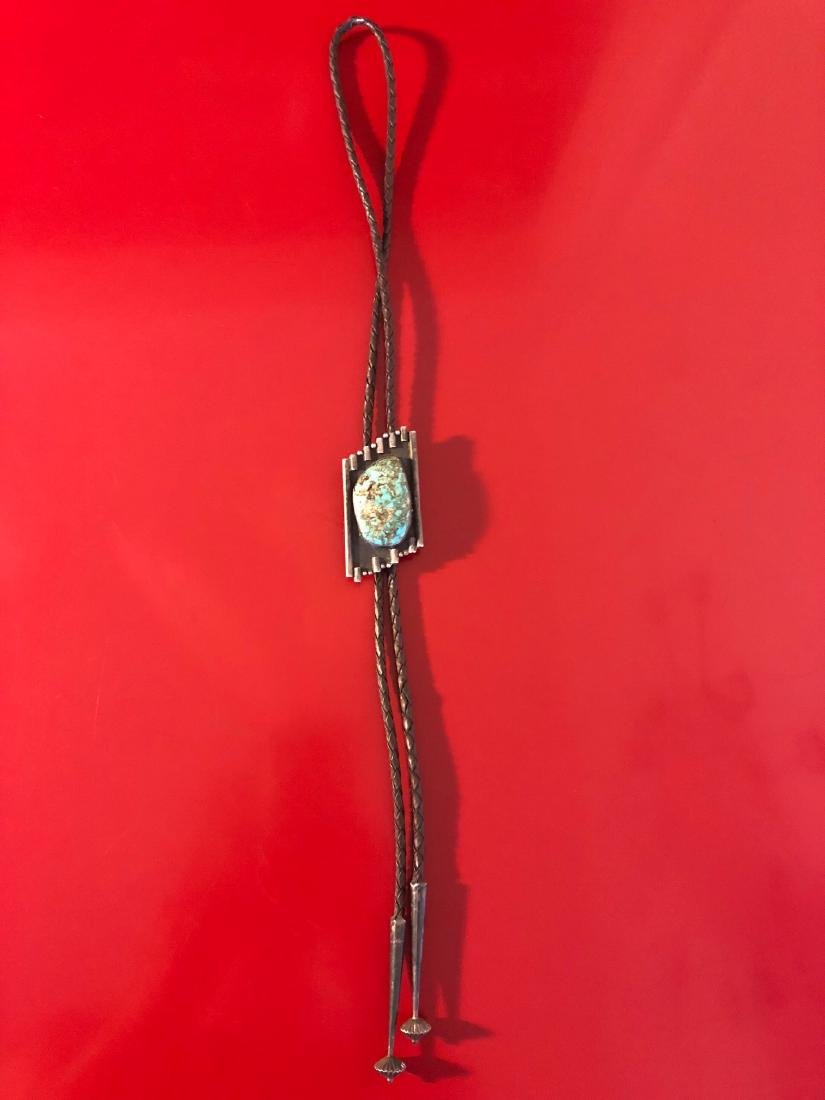 1950's Navajo Turquoise Bolo Necklace, Sterling Silver - 3