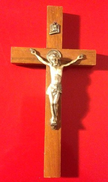 "Rare Antique Walnut Wood Crucifix 6""H"