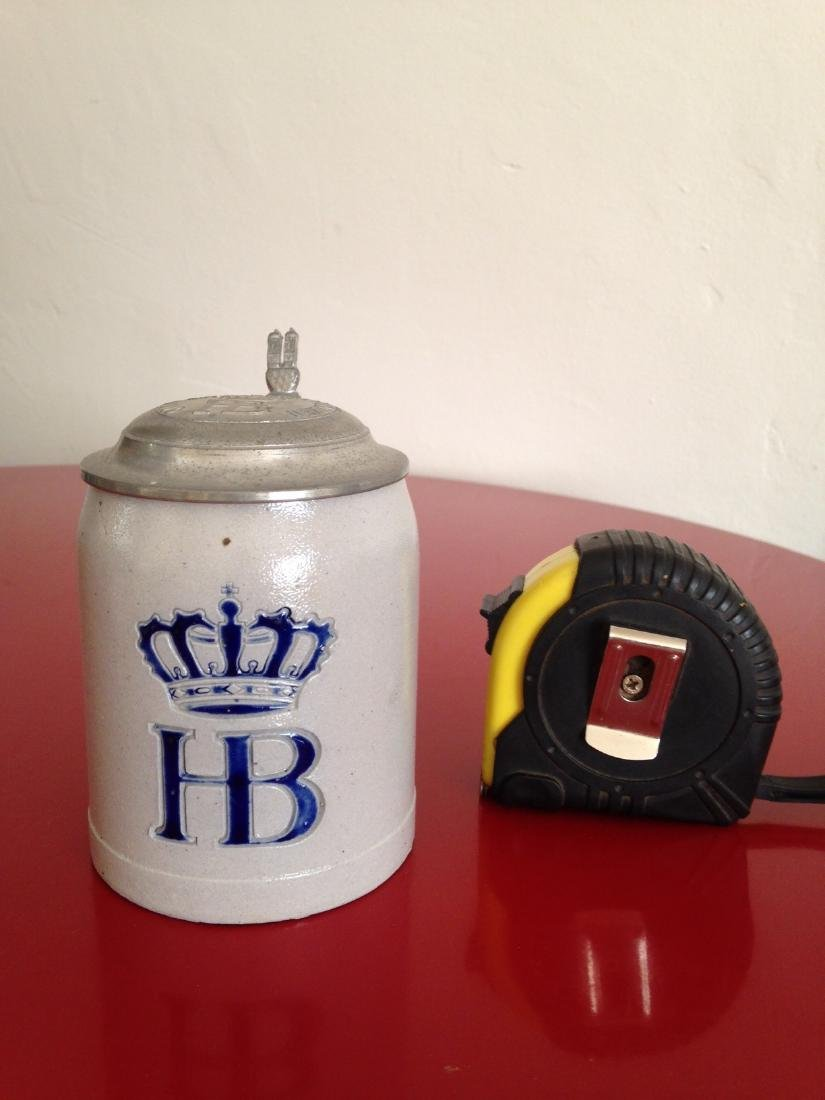 HB Hofbauhaus Stoneware Beer Stein with Pewter Lid Made - 8