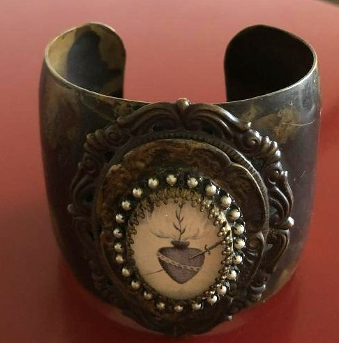 Unique Cuff Bracelet with Heart and Dagger Symbol