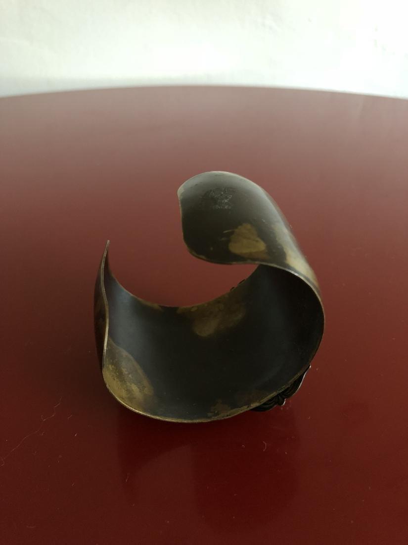 Unique Cuff Bracelet with Heart and Dagger Symbol - 5