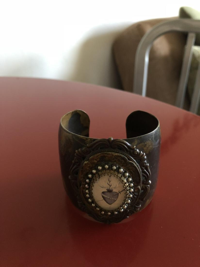 Unique Cuff Bracelet with Heart and Dagger Symbol - 9