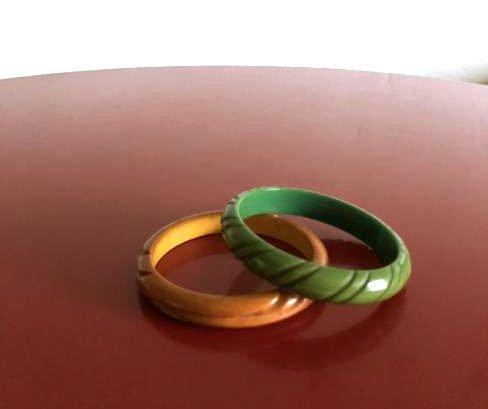 Two Carved 1950's Bakelite Bracelets