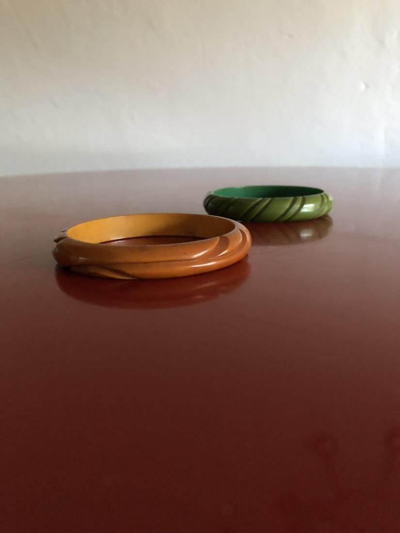 Two Carved 1950's Bakelite Bracelets - 2