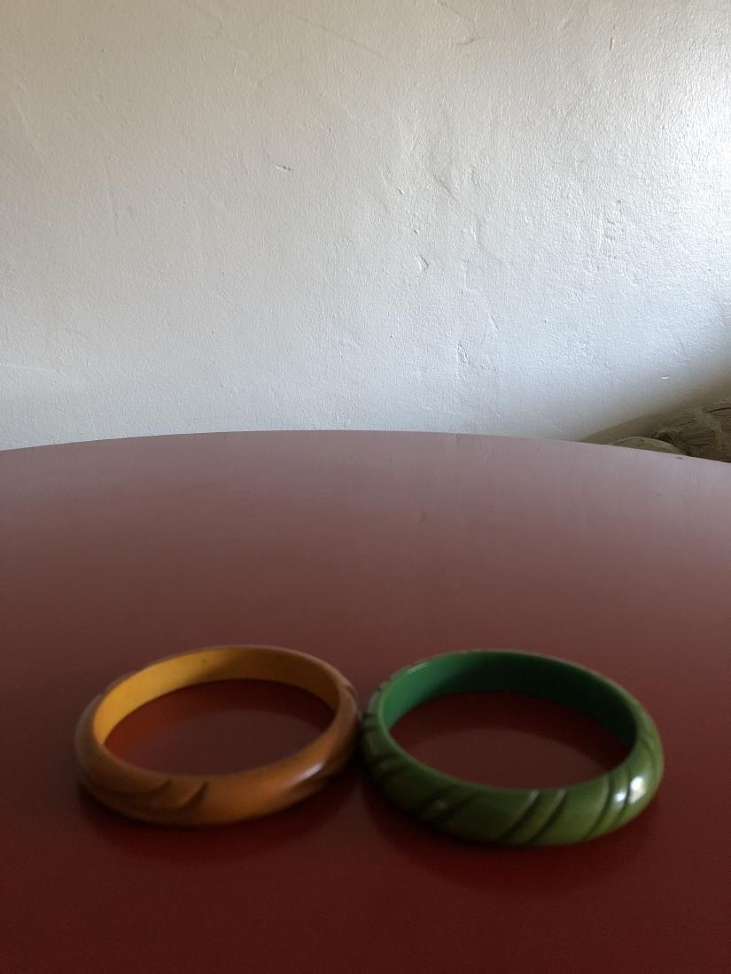 Two Carved 1950's Bakelite Bracelets - 4