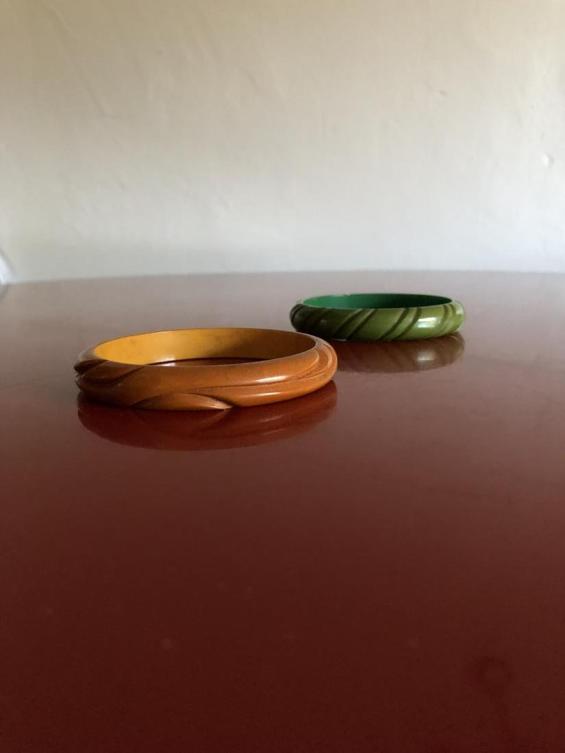 Two Carved 1950's Bakelite Bracelets - 5