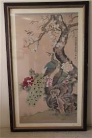 A large Chinese scroll: peacocks and flower