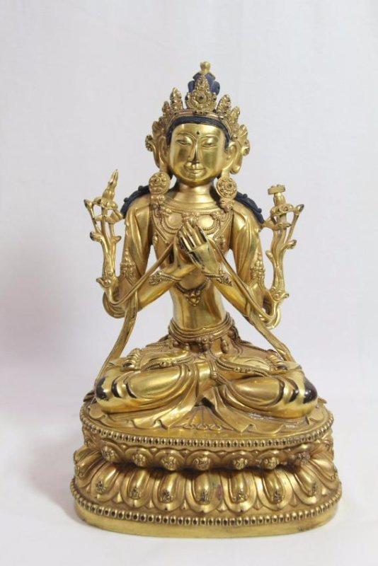 A large gilt bronze figure