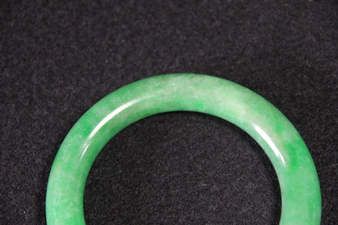 Chinese green jadeite  bangle bracelet - 3