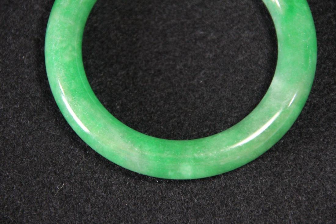 Chinese green jadeite  bangle bracelet - 4