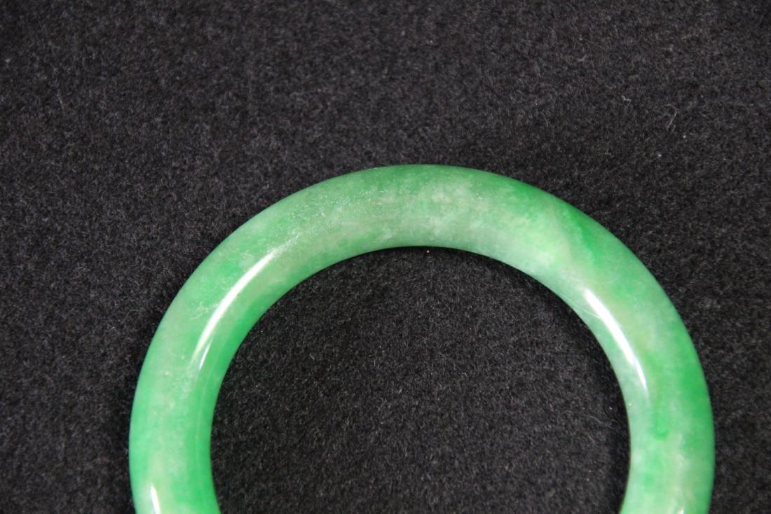 Chinese green jadeite  bangle bracelet - 6