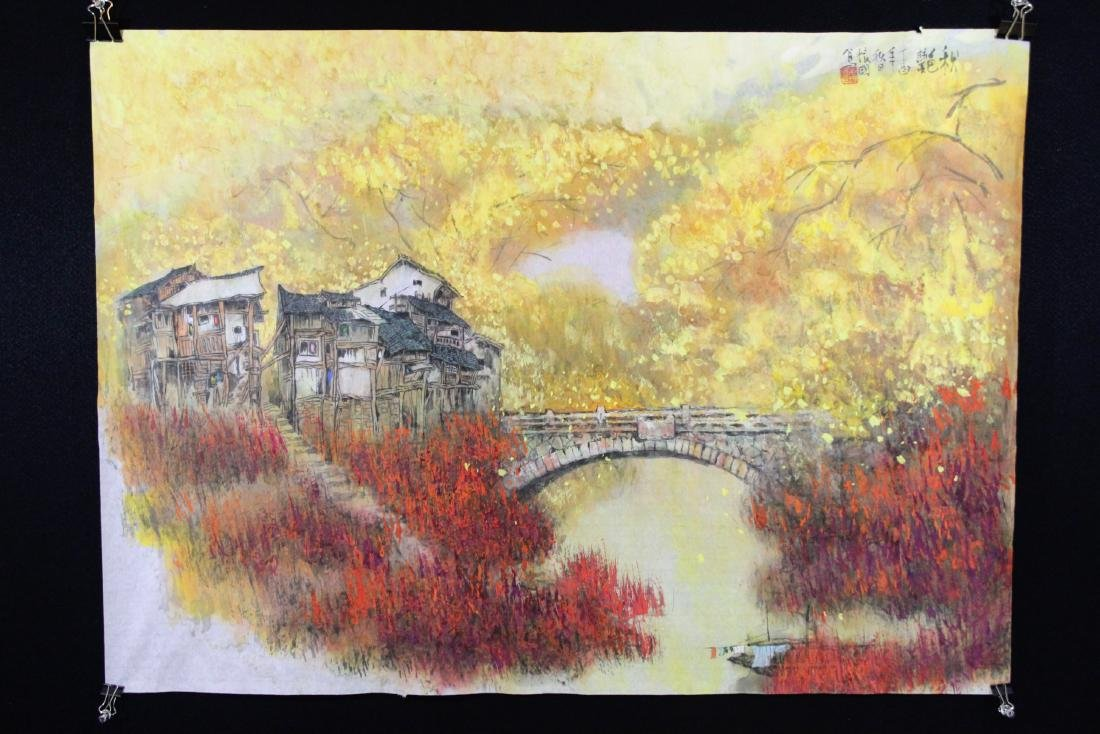 Chinese ink and color on silk scroll
