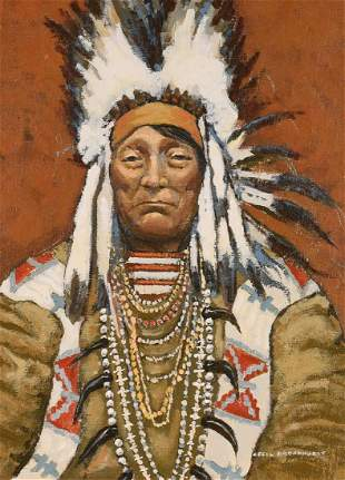 """Cecil Broadhurst, Canadian, 1903-1981, """"Chief Curly"""