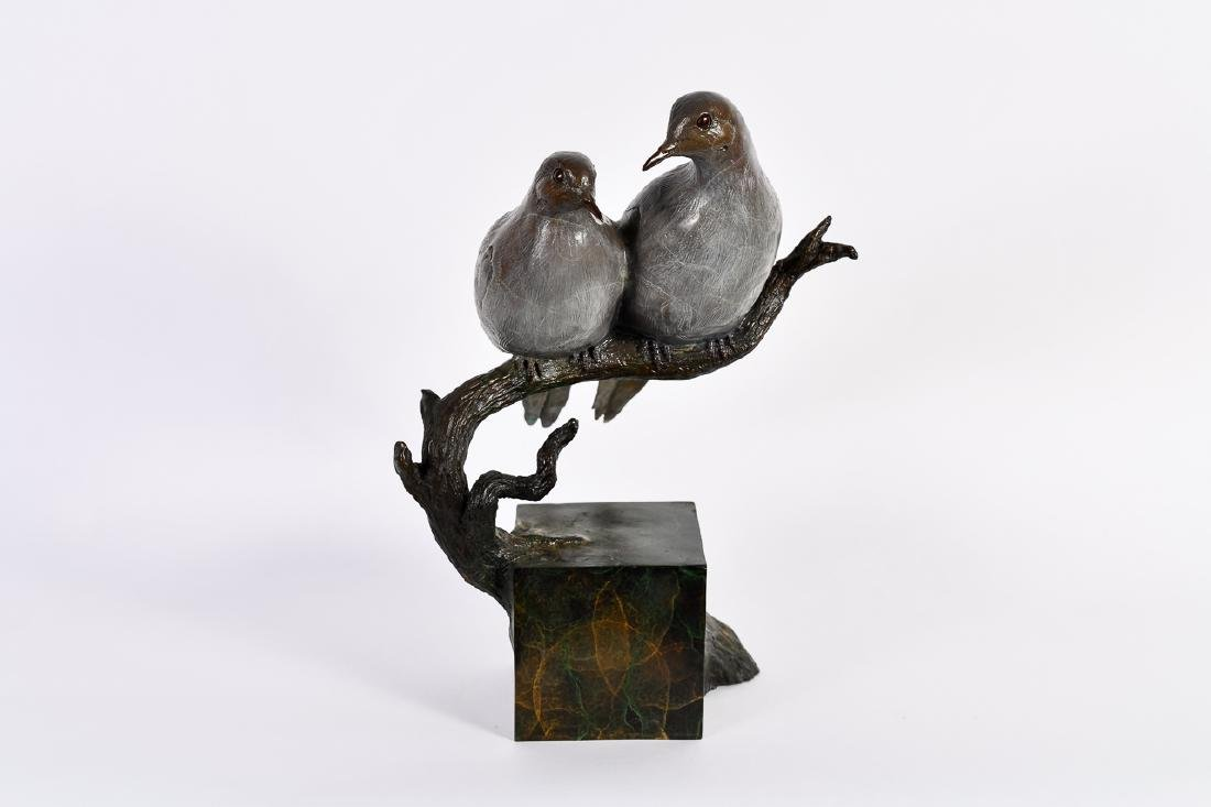 "Jim Eppler, ""Mourning Doves,"" Bronze Sculpture"