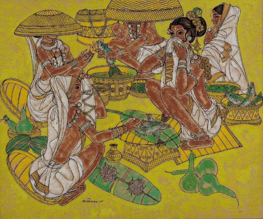 Abdul Almelkar, Ink, Pastel and Gouache Painting