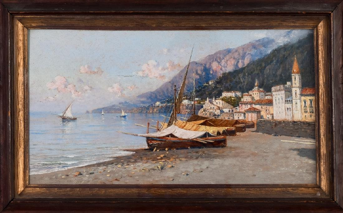"Giuseppe Carelli, ""Amalfi,"" Oil on Panel Painting"