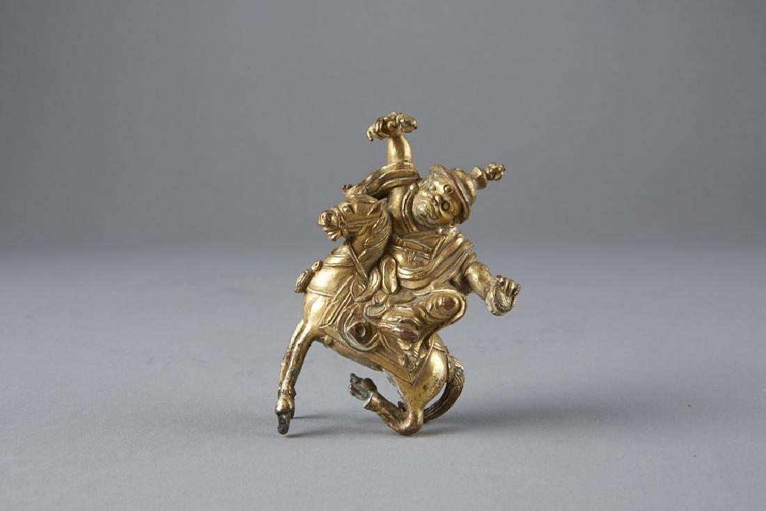 Chinese 18th C. Gilt Bronze Statue Garwa Nagpo-BTC Acpt