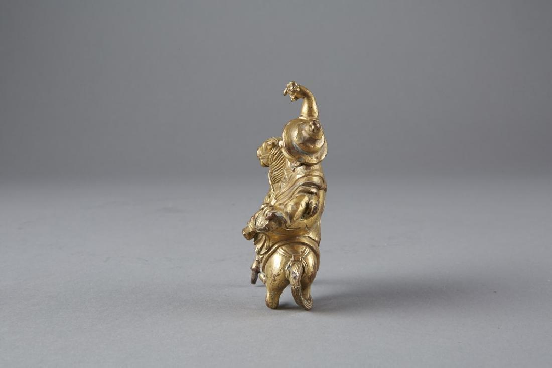 Chinese 18th C. Gilt Bronze Statue Garwa Nagpo-BTC Acpt - 2