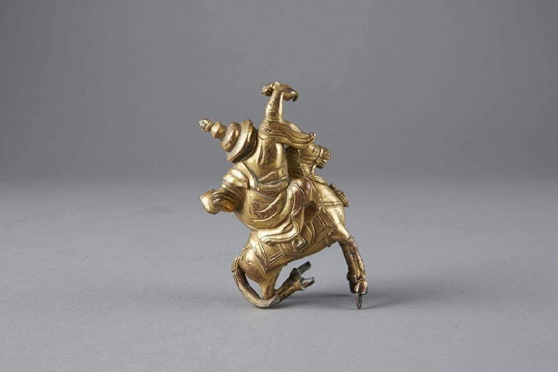 Chinese 18th C. Gilt Bronze Statue Garwa Nagpo-BTC Acpt - 3