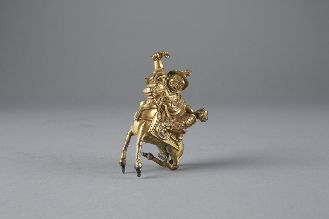 Chinese 18th C. Gilt Bronze Statue Garwa Nagpo-BTC Acpt - 5