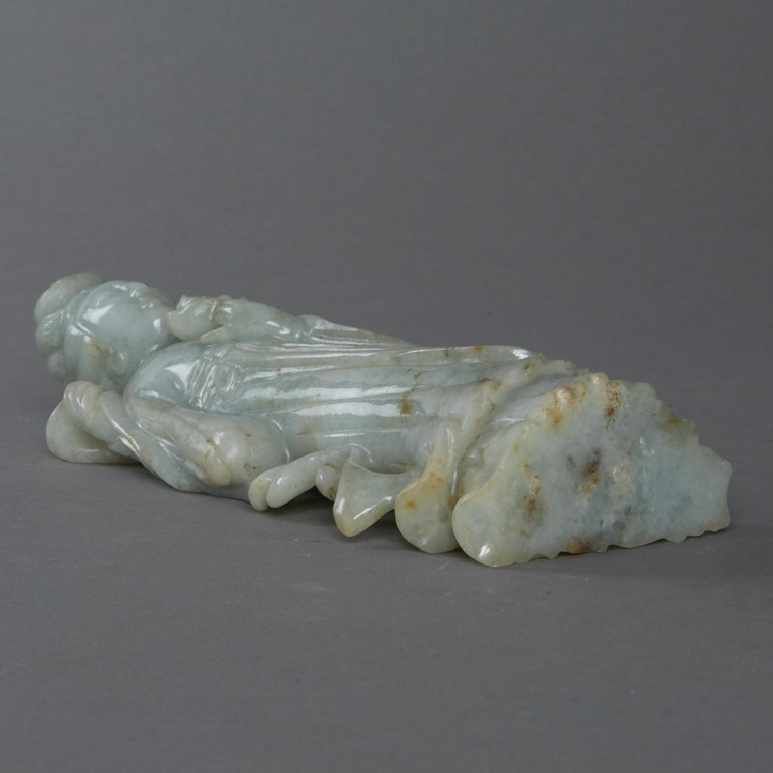 Chinese 19th C. Carved Jade Maiden Flower - 5