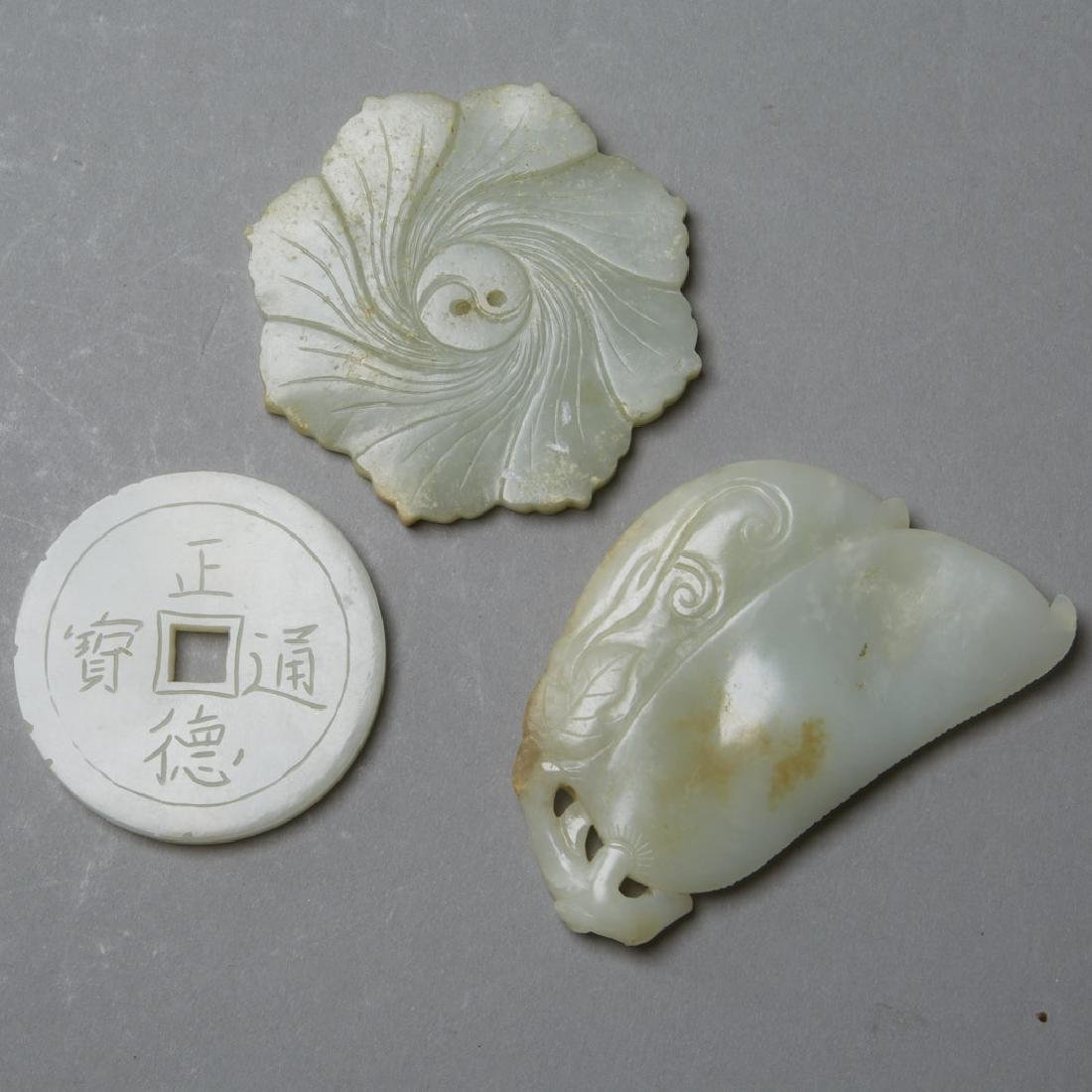 3: Chinese 19th C. Celadon Jade Pendants Carvings