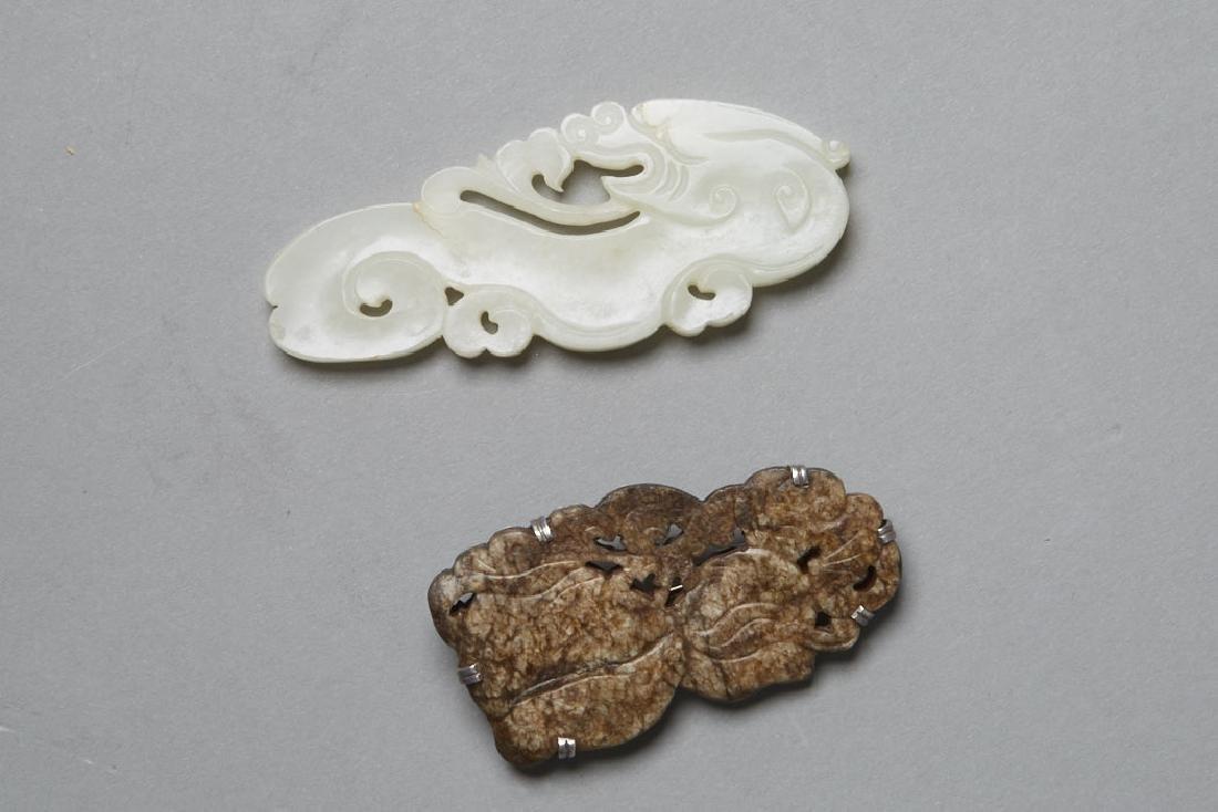 2: Chinese pale green Jade Pendan & a Silver Pin