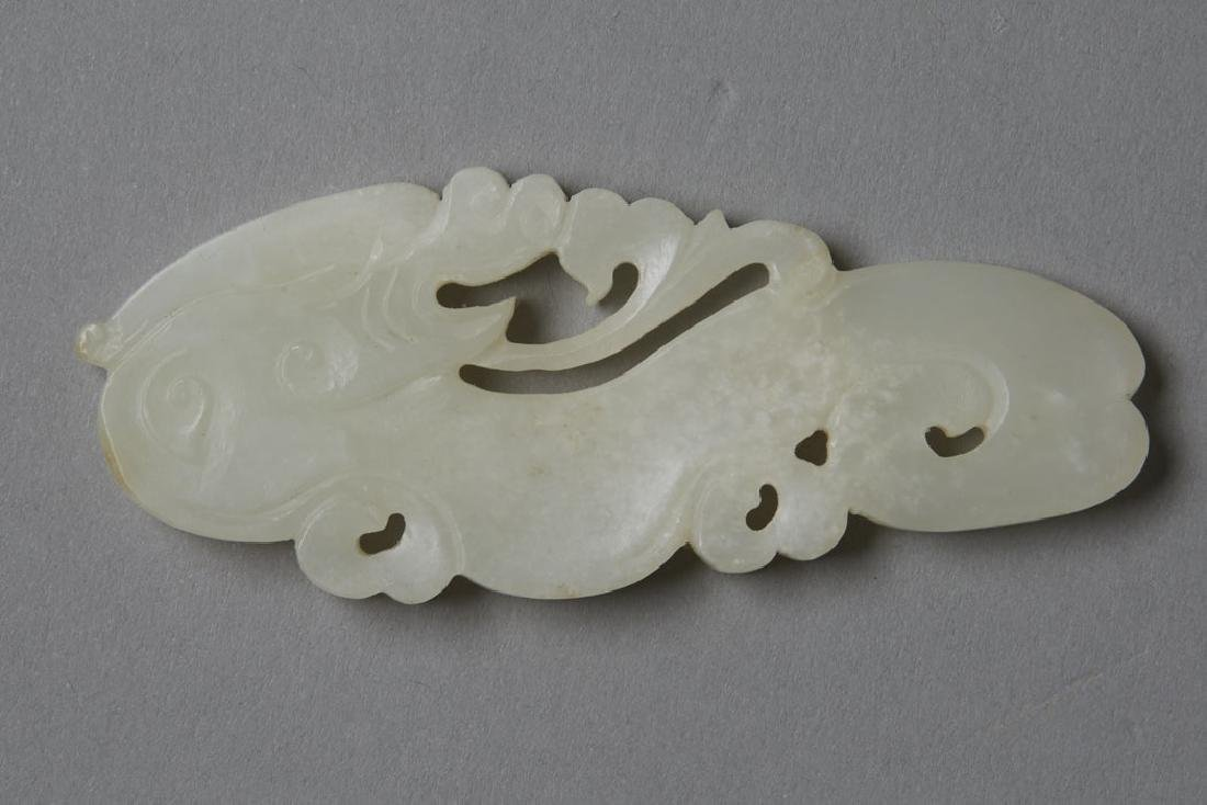 2: Chinese pale green Jade Pendan & a Silver Pin - 4