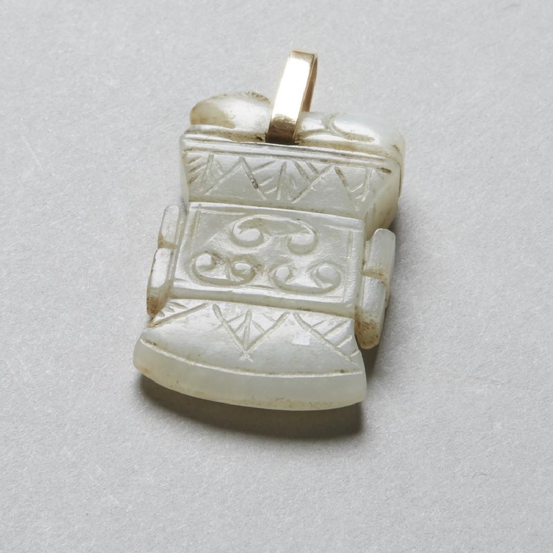 Chinese 19th Jade Pendant Archaic Axe Head - BTC Acpt