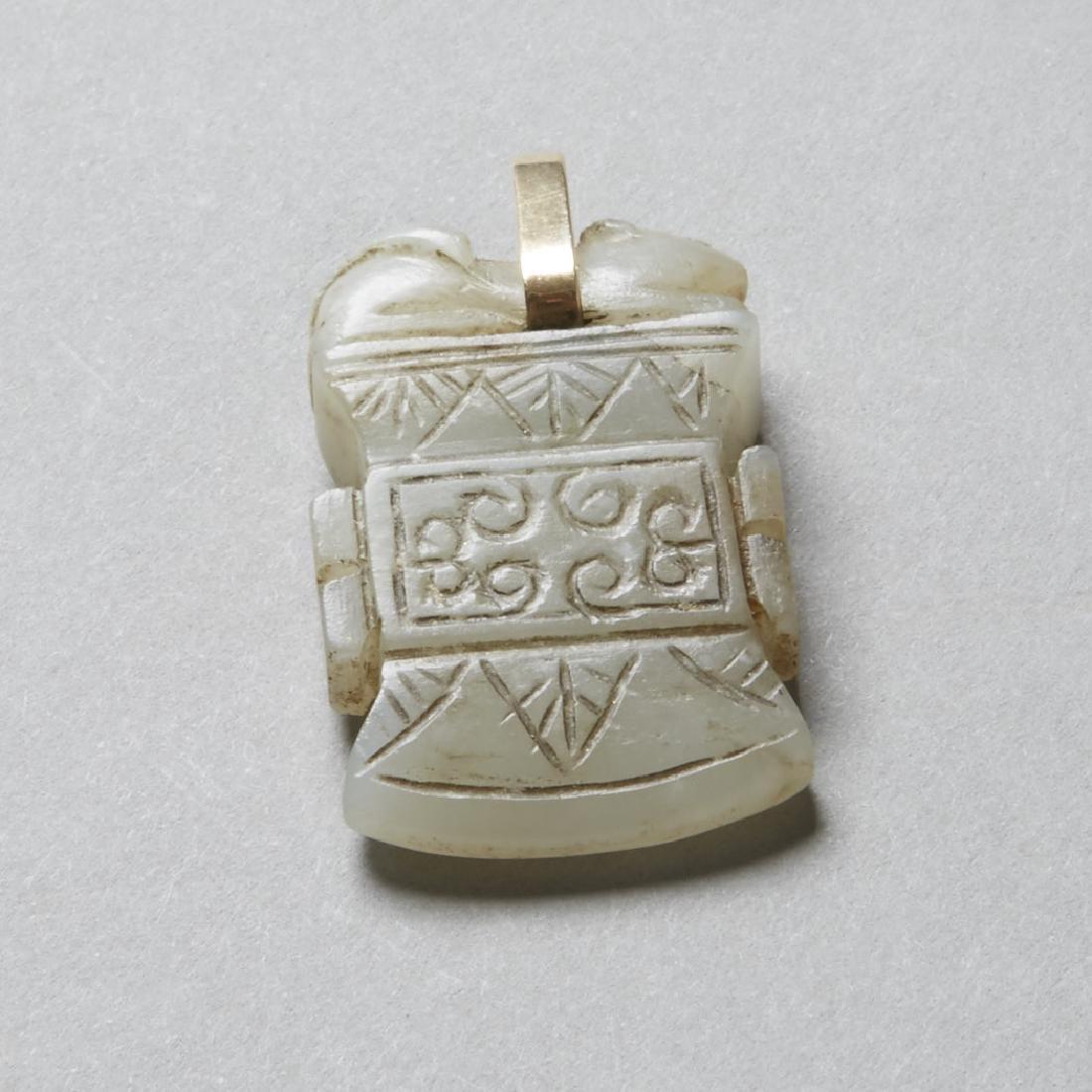 Chinese 19th Jade Pendant Archaic Axe Head - BTC Acpt - 2