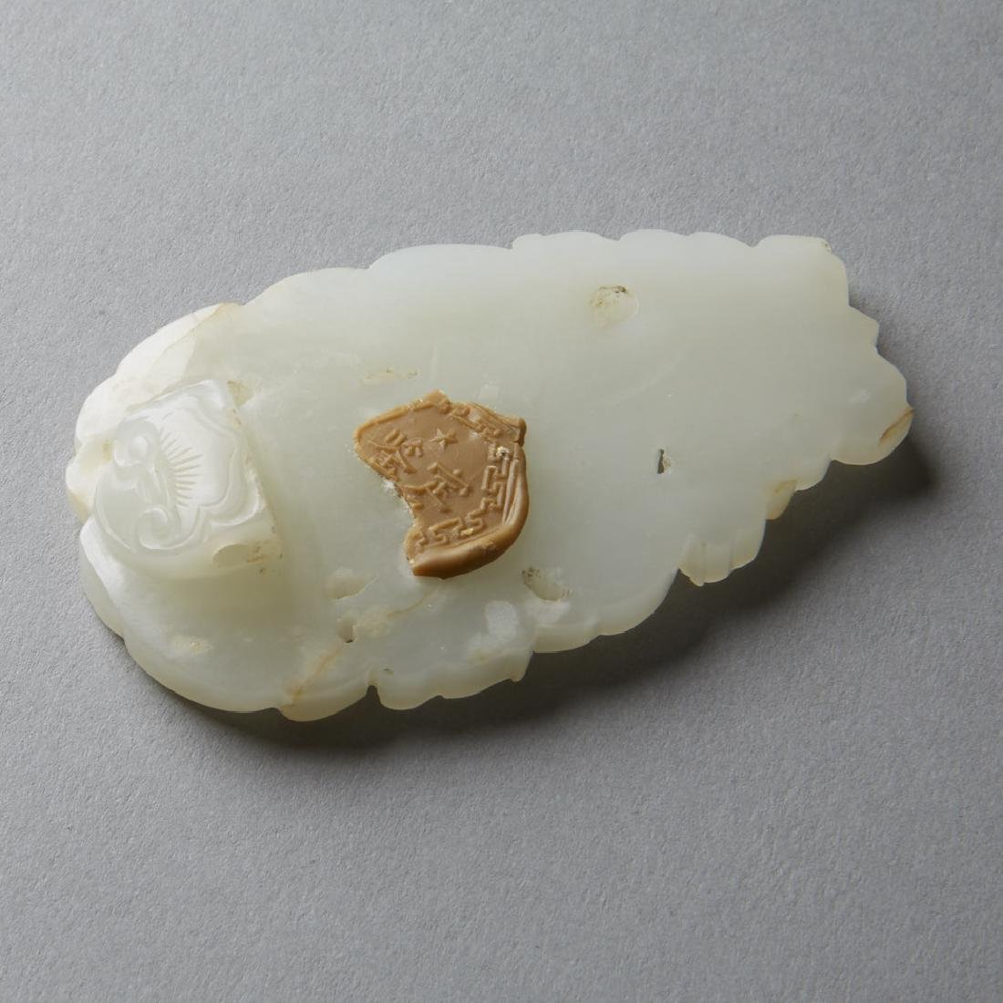 Chinese Pale Jade Pendant Butterfly & Gourds - BTC Acpt - 3