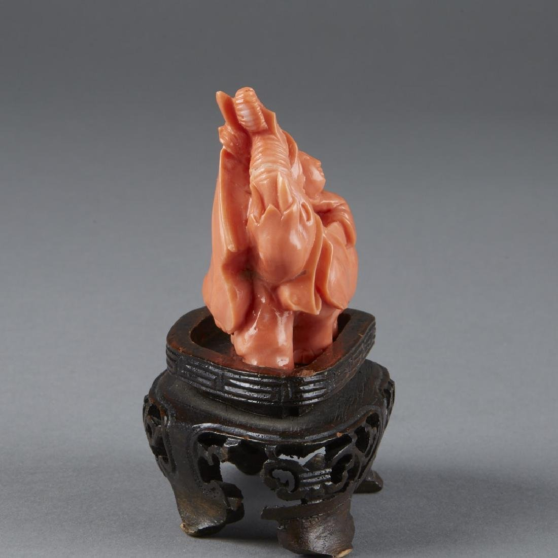 Chinese Coral Carving of Boy & an Elephant - 5