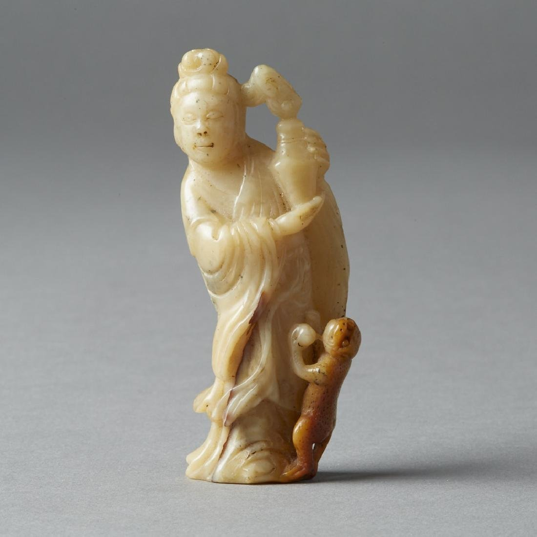 Chinese Qing Soapstone Carving Maiden - BTC Acpt