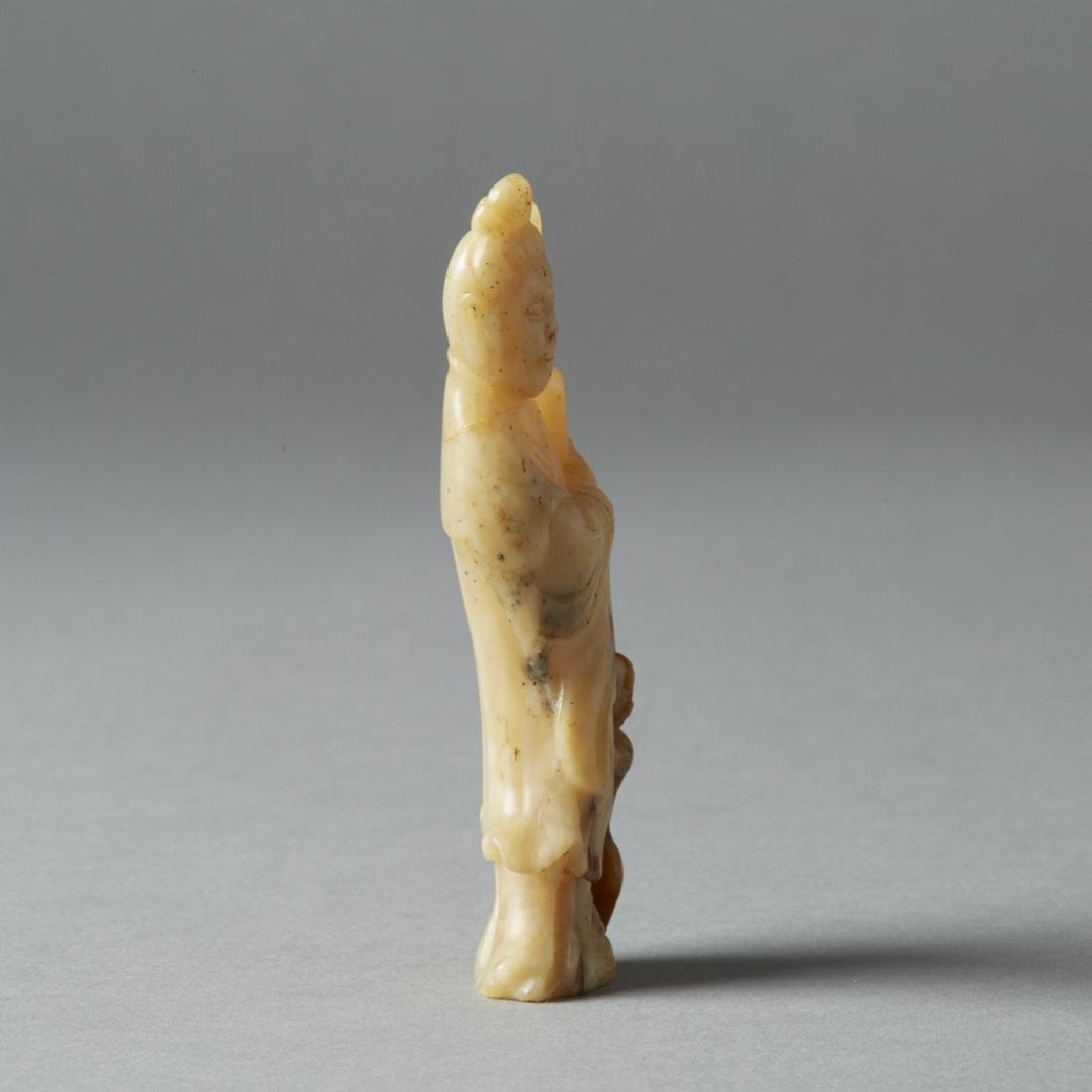 Chinese Qing Soapstone Carving Maiden - BTC Acpt - 3