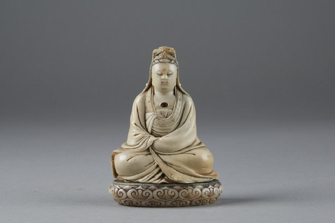 Chinese 18th C. Soapstone Figure of Guanyin Signed